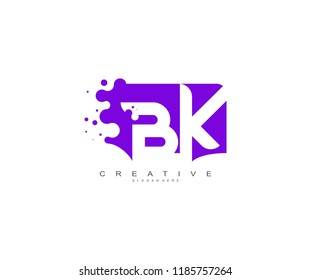 Letter BK Logo Design Vector with Abstract Square Shape Dots