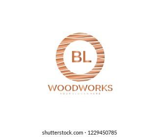 Letter BL initial wood logo vector