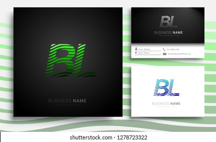 Letter BL logotype with colorful circle, with striped composition letter, sets of business card for company identity, creative industry, web.