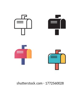 letter box icon vector illustration with different style color. isolated on white background