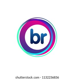 Letter BR logo with colorful circle, letter combination logo design with ring, circle object for creative industry, web, business and company.