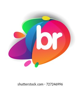 Letter BR logo with colorful splash background, letter combination logo design for creative industry, web, business and company.