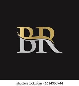 Letter BR Logo Design Gold Silver With Black Background. Abstract Letter BR Vector Illustration
