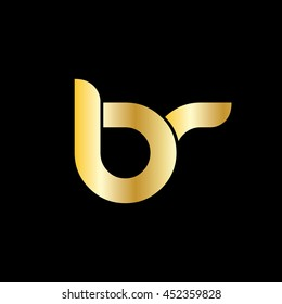 Letter BR Rounded Shape Icon Lowercase Logo Gold Black Background