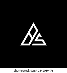 letter BS SB minimalist art monogram triangle shape logo, white color on black background.