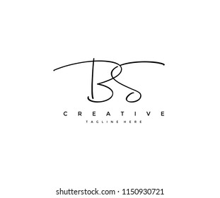 Letter BS Signature Minimal Manual Logotype