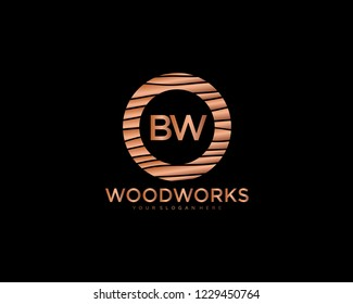 Letter BW initial wood logo vector