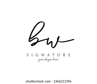 Letter BW Signature Logo Template - Vector