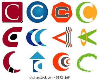 Letter C Alphabet Design Icons Set