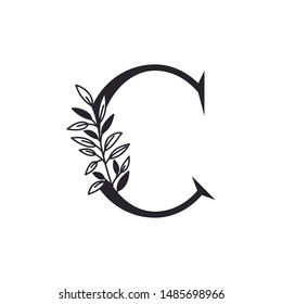 letter C of the alphabet with leaves