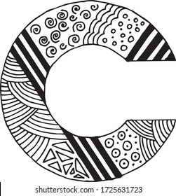 Letter C alphabet symbol - hand drawn, paint, vector illustration