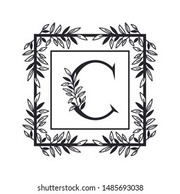letter C of the alphabet with vintage style frame