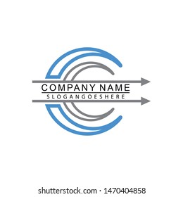 Letter C with arrow logo, Business corporate logo design vector