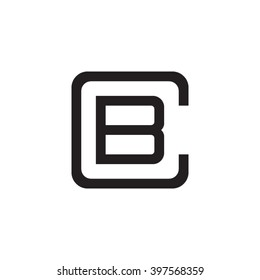 letter C and B monogram square shape logo black