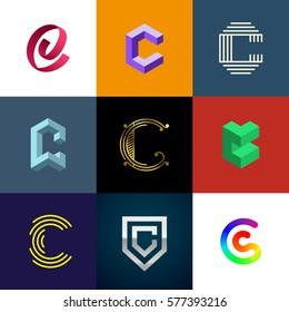 "Letter ""C"" big logo pack. Creative vector monograms. Eps10 format."