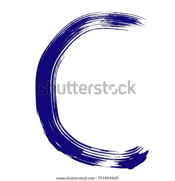 Letter C Brush Font Hand Drawn Stock Vector (Royalty Free