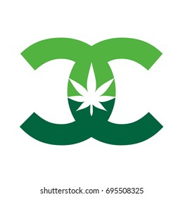 letter C and cannabis logo vector logo