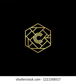 letter C CC minimalist art monogram hexogen shape logo, white color on black background