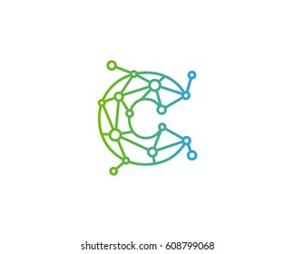 Letter C Connected Circle Network Logo Design Element