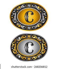 Letter C - Cowboy belt buckle - Alphabet vector design