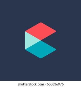 Letter C cube logo icon design template elements