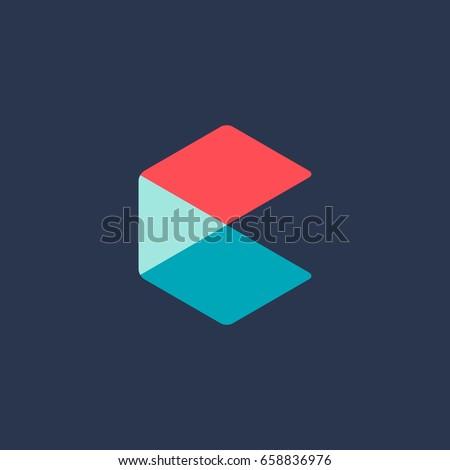 letter c cube logo icon design のベクター画像素材 ロイヤリティ