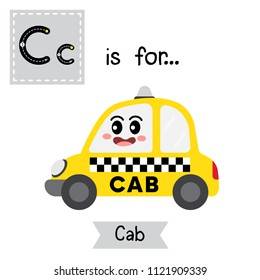 Letter C cute children colorful transportations alphabet tracing flashcard of Cab for kids learning English vocabulary Vector Illustration