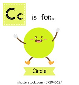 Letter C cute children colorful geometric shapes alphabet tracing flashcard of Circle for kids learning English vocabulary.
