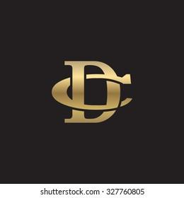 letter C and D monogram golden logo