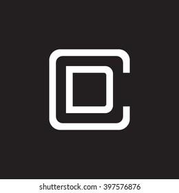 letter C and D monogram square shape logo white black background