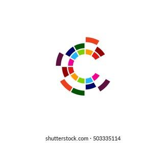 Letter C Digital Spark Logo Design Template