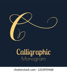 Letter C - elegant copperplate monogram design