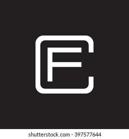 letter C and F monogram square shape logo white black background