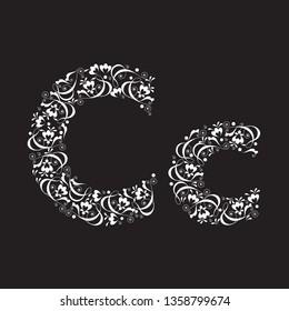 the letter C of the flower vignettes white on a black background. vector illustration. EPS 8.