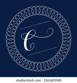 Letter C - hand lettering design in copperplate style