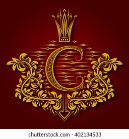 Letter C heraldic monogram in coats of arms form. Vintage golden logo with shadow on maroon background. Letter C is surrounded by floral elements of design.