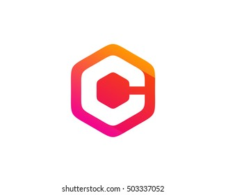 Letter C Hexa Color Logo Design Template