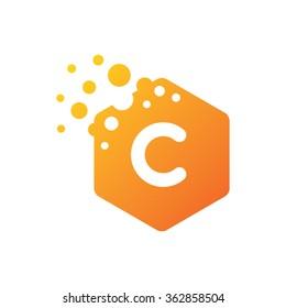 Letter C Hexagon Bubbles Vector