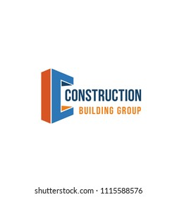 Letter C icon for construction company and industrial building group. Vector isolated letter C symbol for engineering business or construction industry corporation branding