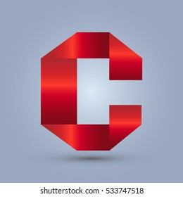 Letter C icon and logo template.  design and elegant typographic. gradient red