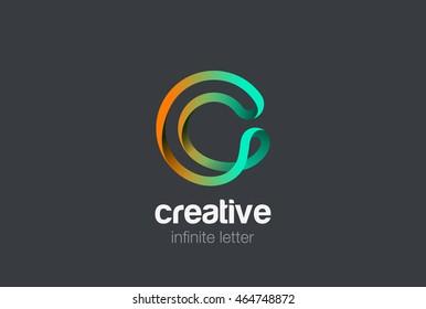 Letter C infinite ribbon Logo design vector template.
