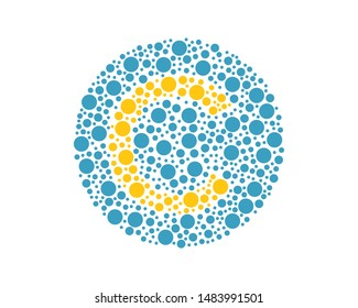 Letter C in Ishihara Plates Vector