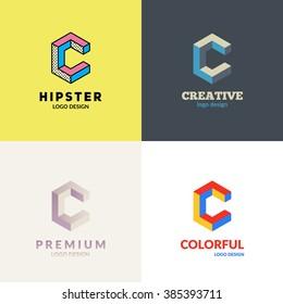 """Letter """"C"""" isometric logo design set."""