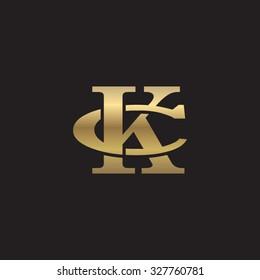 letter C and K monogram golden logo