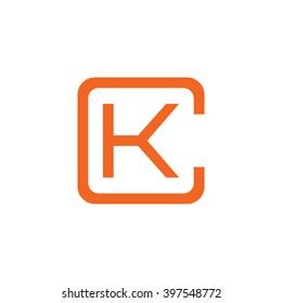 letter C and K monogram square shape logo orange