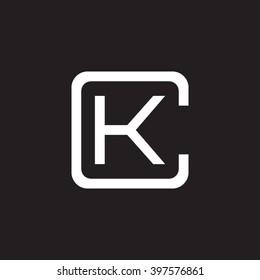 letter C and K monogram square shape logo white black background
