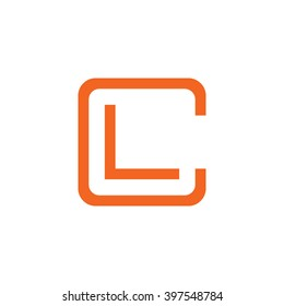 letter C and L monogram square shape logo orange