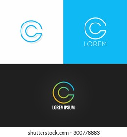 letter C logo alphabet design icon set background