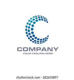 Letter C logo , Blue Bold sphare logo on white background . Place for Company name and tag line . Business logo - vector illustration