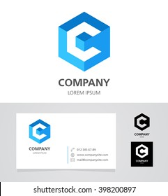 Letter C - Logo Design Element with Business Card - illustration  Vector Logotype Template